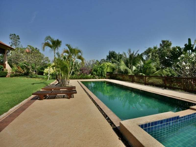 Balinese style villa for sale Dolphin Bay pool garden