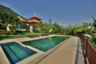 Balinese style villa for sale Dolphin Bay side pool