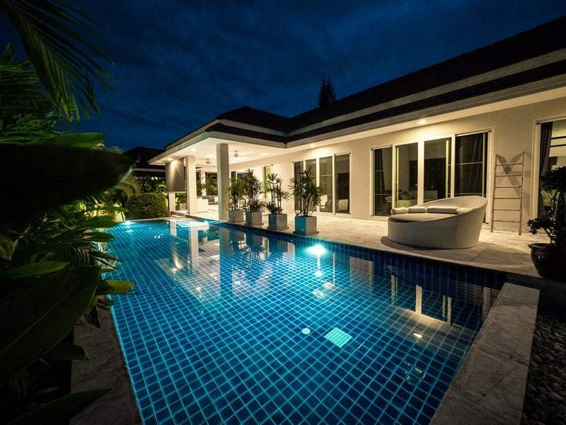 Resale pool villa Hua Hin night pool