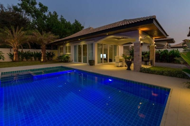 Hua Hin Orchid Paradise Homes show villa for sale terrace night