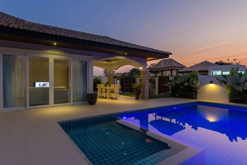 Hua Hin Orchid Paradise Homes show villa for sale pool night