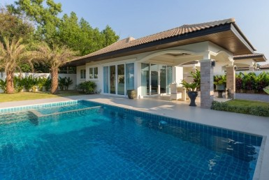 Hua Hin Orchid Paradise Homes show villa for sale garden
