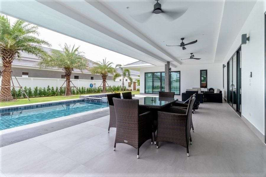 The Clouds villa for sale - covered terrace dining
